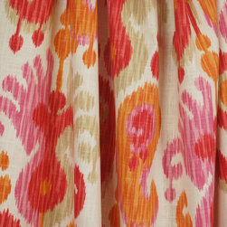 Braemore - Journey Fruity Damask Ikat Fabric By The Yard - Journey fabric in the colorway Fruity has a repeat of V-24.5  H-27.  This red , orange , pink Braemore Fabric has a fiber content of 55% Linen  45% Rayon.  Great end uses for this decorative fabric are as Curtain Fabric, Pillow Fabric, Drapery Panels, Bedding, Light Upholstery and craft projects.