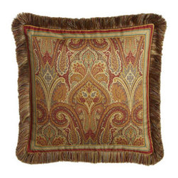 """Legacy Home - Legacy Home 22"""" Square Paisley Pillow - Spice-toned paisley and striped patterns contrast and complement each other elegantly in a spirited bedding from Legacy Home. Piped duvet covers reverse from paisley to chocolate. Ruffled striped dust skirts have an 18"""" drop. Neckroll pillow has satin-s..."""