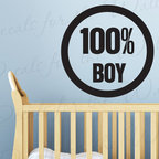 Decals for the Wall - Wall Quote Decal Sticker Vinyl Lettering Large All Boy Nursery Baby's Room K44 - This decal says ''100% Boy''