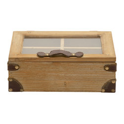 Distinctive and Charming Wood Glass Box - Description: