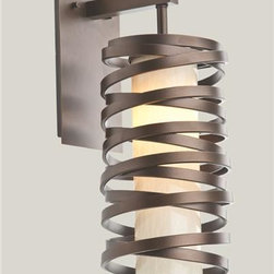 Lightspann - Cyclone II Metal  and  Glass Wall Sconce - Another twist from our Cyclone collection. This unique sonce has a glass inner chamber wrapped with metal strapping shown in our Flat Bronze finish. Light can also be made without the glass inner chamber.         This fixture accepts one incandescent, candelabra base 60 watt bulb.          Handcrafted in the USA!  This sconce usually ships in 8-10 weeks.           Standard Metallic Metal Finishes: (image 2 - included in price)  Copper Leaf, Flat Bronze (shown), Matte Black, Seaside Silver, Metallic Beige Silver, Statuary Bronze      Please note that the price listed pertains to a fixture that will appear very similar to the light shown in the featured photograph and as outlined in the accompanying description. Virtually all of our artisan crafted fixtures can be customized regarding size, shape, and / or color(s). Please call for details.