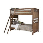 Liberty - Liberty Hearthstone Youth Twin Over Twin Bunk Bed in Rustic Oak - For two siblings sharing a room or just the occasional sleepover, this bunk bed adds comfort and style to any youths room. This bunk bed features plank accents and a double x design on the end pieces. This bed is constructed of rubber wood solids and oak veneers in a rustic oak finish. This set includes a convenient ladder with five steps for easy access of the top bunk.