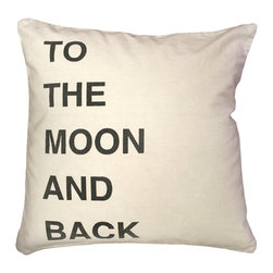 """Sugarboo Designs - To The Moon And Back Throw Pillow - Plush, oversized pillow cushion displays a message to share with those you love: """"To The Moon And Back"""". The classic stone wash linen material mixed with the retro-inspired decorative typography adds an element of interest to your living room design that coordinates well with either solids or prints. Pillow measures 24"""" x 24"""" and is made of stone wash linen.   About the Artist: Rebecca Puig is the artist behind Sugarboo Designs. Sugarboo is a family business that Rebecca and her husband, Rick, started in 2005. The name """"Sugarboo"""" came from a couple of nicknames she has for her children, Jake and Sophie. They are the main inspiration for Sugarboo because Rebecca always wants to create products that remind us of the ones we love. As a little girl, Rebecca loved to paint and create things. She attended the University of Georgia graduating with a Studio Art degree. Rebecca is inspired by her family, nature, animals, old things, childrens' art and folk art. She also loves juxtaposing old and new, light and dark, serious subject matter with fluff and anything with a message. Rebecca believes in putting good out into the world whenever possible. Her hope is that each Sugarboo piece she creates will add a little good into the world.   Product Details:"""