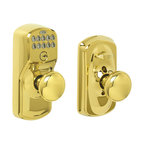 Schlage - Schlage Plymouth Keypad Entry w/ Flex-Lock & Plymouth Knob in Bright Brass - Keypad Entry w/ Flex-Lock & Plymouth Knob in Bright Brass belongs to Plymouth Collection by Schlage Lose your keys for the last time. No more hiding keys under the doormat or losing, forgetting, or making extras keys time and time again. Step up to a more secure and flexible solution with Schlage electronic door locks. Install a new keyless door lock or electronic deadbolt yourself—with nothing more than a screwdriver. You're free to add, change, or delete user codes in just seconds—and to come and go as you please. For more than 90 years, Schlage has built a legacy of providing the highest level of security to homes and businesses. Install a Schlage lock and you install nearly a century of total dedication to security, quality and innovation.  Keypad Entry w/ Lock & Knob (1)