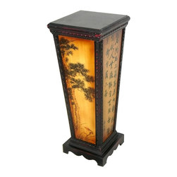 Oriental Unlimted - 4-Sided Green Tree Flower Pedestal - Include genuine Brass hardware, which is antiqued and finished to resist rust. 4 Sided flower pedestal. Features a vibrant Green tree design on 2 sides and large Black Chinese characters on the other 2. Perfect place to display your Bonsai tree or lucky Bamboo. Built with mahogany and Elm wood. Antique-finished for a gorgeous authentic look. Painted panels often include lines of calligraphy and Red seals. 10.5 in. W x 10.5 in. D x 27 in. H
