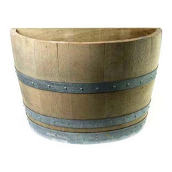 "Master Garden Products - Oak Wood Quarter Wine Barrel Planter, 26""W x 14""L x 18""H - Quarter wine barrel planters are designed to be placed against any kind of wall or structures allowing you to accentuate your garden. We use authentic oak wood wine barrels with quality and value in mind for your gardening needs. Unlike whiskey barrels, classic wine barrels are much better built, and wrapped with three galvanized steel bands to prevent rust which are seen frequently in whiskey barrels. Unlike most retailers, we drilled drainage holes on the bottoms of your barrel planters, drainage holes are needed, so excess water may drain out of the containers without drowning and killing the plants. Of course you may also use these barrel planters for other purposes without the need of drain holes at the bottoms. All oak wood barrel front and bottom, cedar wood at the back."