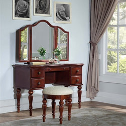 Powell - Powell 'Marquis Cherry' Vanity,Mirror and Bench - Experience the luxurious vibe of old-world grandeur with this vanity table by Powell. This vanity is made with a trifold mirror that allows viewing from all angles. The ornate details adorning the feet lend a traditional feel to this set.