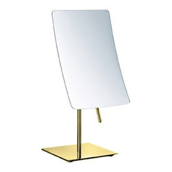 Nameek's - Rectangle Chrome 3x Makeup Mirror, Gold - This single face makeup mirror has a 5.9 inch width and a 8.9 inch height.