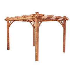 Outdoor Living Today Natural Western Red Cedar Wood Gazebo - Pergolas are great options for those who don't have a covered outdoor space. This one is the perfect base for hanging an outdoor chandelier.