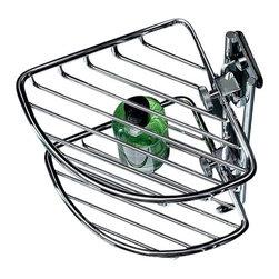 Toscanaluce - Polished Chrome Double Corner Wire Shower Basket - Unique, stylish wall mounted bathroom double corner shower soap basket.