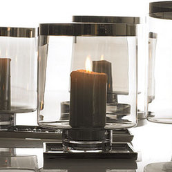 Smoke glass with metallic rim vases