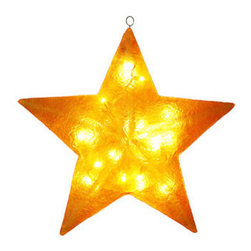 Golden Fiberglass Star Decoration 28 in. - The Barcana 57-1002-02 lighted Christmas star decoration features a chip resistant fiberglass construction. This Christmas star boasts a glossy gold finish and subtle texture. It is pre-lit with clear incandescent Christmas mini lights and is suitable for use indoors or outdoors. Barcana Christmas trees and decorations are meant to last over a lifetime. With proper storage, this commercial quality decoration will be passed down for generations.