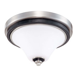 Brushed Nickel With Ebony Wood And Satin White Glass Flush Ceiling Fixture - Condition: New - in box