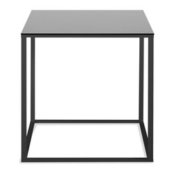 Blu Dot - Blu Dot Minimalista Side Table, Black / Black Mirror - Nothing but the bare essentials here. Sublime stainless steel gently supports your choice of top. Available in graphite-on-oak, marble and walnut.Stainless steel base: stainless steel, White and Black bases: powder-coated steel, Graphite on Oak top: stained oak veneer, Marble top: honed marble stone slab, Walnut top: plain-sliced walnut veneer