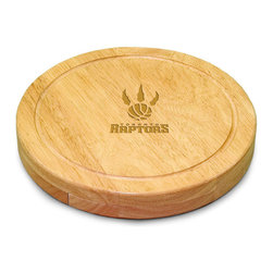 """Picnic Time - Toronto Raptors Circo Cheese Board in Natural - The Circo by Picnic Time is so compact and convenient, you'll wonder how you ever got by without it! This 10.2"""" (diameter) x 1.6"""" circular chopping board is made of eco-friendly rubberwood, a hardwood known for its rich grain and durability. The board swivels open to reveal four stainless steel cheese tools with rubberwood handles. The tools include: 1 cheese cleaver (for crumbly cheeses), 1 cheese plane (for semi-hard to hard cheese slices), 1 fork-tipped cheese knife, and 1 hard cheese knife/spreader. The board has over 82 square inches of cutting surface and features recessed moat along the board's edge to catch cheese brine or juice from cut fruit. The Circo makes a thoughtful gift for any cheese connoisseur!; Decoration: Laser Engraved; Includes: 1 cheese cleaver (for crumbly cheeses), 1 cheese plane (for semi-hard to hard cheese slices), 1 fork-tipped cheese knife, and 1 hard cheese knife/spreader"""