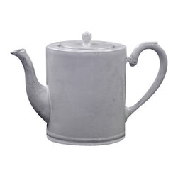 """ASTIER DE VILLATE - Colbert Teapot by Astier de Villatte - Astier de Villatte ceramics are entirely handmade in Paris, France. Made of black terracotta clay, the pieces are extremely durable yet surprisingly light to the touch making them perfect for everyday use. The namesake tableware collection is inspired by 18th and 19th century designs and is glazed to create a milky white finish. 9"""" x 5"""" x 5.5"""""""