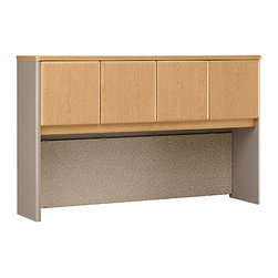 Bush Business - 60 in. Hutch in Light Oak - Series A - Need storage space, then hire a top performer, our 60 Hutch finished in Light Oak.  It provides four cabinets of affordable storage for atop your desk space.  Employ two units back-to-back to create private workstations.  It also features a full-length tackboard for prioritizing your papers. * Need storage space, then hire a top performer, our 60 Hutch finished in Light Oak. It provides four cabinets of affordable storage for atop your desk space. Employ two units back-to-back to create private workstations. 59.606 in. W x 13.819 in. D x 36.496 in. H