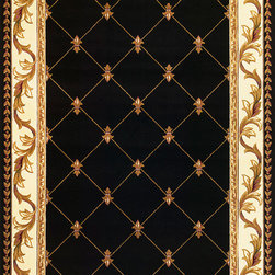 "Corinthian 5321 Black  Fleur-De-Lis Rug - Corinthian 5321 Black Fleur-De-Lis 20"" x 31"". Machine-Made of 100% Heat-set Polypropelene with Hand-Carved Patterns with No Backing. Made in China. Vacuum regularly & spot clean stains. Professional cleaning recommended periodically."