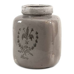 Brocade Small Vase - This stoneware jar vase is imprinted with a Fleur-de-Lis brocade inspired coat of arms for an understated statement of heraldry.