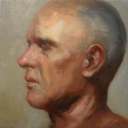"""""""Portrait Of Man"""" Artwork - Alla prima oil painting portrait from observation measuring 8"""" x 8"""" x .75"""". arrives unframed but ready to hang. i painted it on stretched canvas with a .75"""" depth. the colors are nice and vibrant bringing a modern approach to traditional portraiture."""