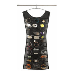 Hanging Jewelry Organizer, Little Black Dress - This cute little black dress holds lots of fun jewelry baubles and hangs from the closet rod. Win-win!