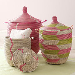 Senegalese Storage Baskets, Pink, Set of 3 - Great for storage or as stylish hampers, these lovely baskets would add a bit of cheer to any space.