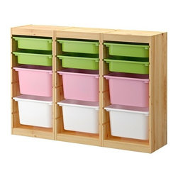 Studio Copenhagen - Trofast Storage Combination With Boxes - Here's a simple, modern solution for all the toys (and stuff) you need for your kiddos once they're mobile. Ikea sells a number of sizes and colors for this system of storage bins.