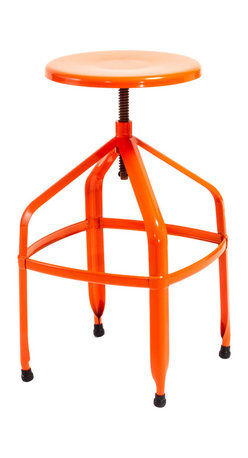 Great Deal Furniture - Izzy Steel Adjustable Swivel Stool, Orange - The Swivel Stool is a great addition to any room in your home. With its adjustable stool height and modern style, this bright colored stool grabs attention while its functionality makes this piece a must have for your interior space.