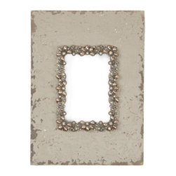 Z Gallerie - Hamilton Frame - We love the unexpected combination of sparkly gems and distressed wood in our stylish Hamilton Frame. The weathered appeal of the ivory frame is offset by an inner rim of decorative bronze metal dotted with ivory pearls and sparkly gems, for a fantastic way to display your treasured memories.