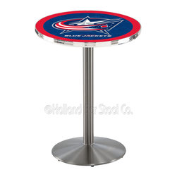 Holland Bar Stool - Holland Bar Stool L214 - Stainless Steel Columbus Blue Jackets Pub Table - L214 - Stainless Steel Columbus Blue Jackets Pub Table  belongs to NHL Collection by Holland Bar Stool Made for the ultimate sports fan, impress your buddies with this knockout from Holland Bar Stool. This L214 Columbus Blue Jackets table with round base provides a commercial quality piece to for your Man Cave. You can't find a higher quality logo table on the market. The plating grade steel used to build the frame ensures it will withstand the abuse of the rowdiest of friends for years to come. The structure is 304 Stainless to ensure a rich, sleek, long lasting finish. If you're finishing your bar or game room, do it right with a table from Holland Bar Stool.  Pub Table (1)