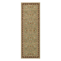 Alexander Home - Primeval Sage/ Coffee Oriental Rug (2'8 x 7'7) - An intricate Oriental design highlights this machine-made polypropylene rug. This area rug features shades of sage green,coffee brown,blue,red,ivory,gold and beige with a sage border.