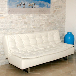 "Casabianca Furniture - Ella Futon in White - Casabianca Furniture designers have made this comfortable futon with an extra layer of pillow top; Leatherette, high density foam and metal; Weight: 92.6 lbs; Dimensions: 77""W x 38""D x 32""H"