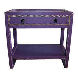 Badia Design Inc. - Rectangular Metal and Leather Cabinet, Purple - Colorful metal and leather cabinet made with stretch leather and silver metal buttons. This makes for a unique and colorful storage unit that can be used in any room in your home, apartment or office.