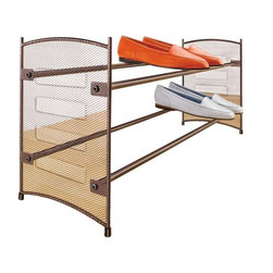 Lynk - Expandable Shoe Rack - Bronze finish. Stackable. Wide base provides stability even on thick carpets. Expands and stacks together to organize any closet space. Stable even on thick carpets. Holds shoe boxes. Extends up to 43 in.. Patent pending. Made from epoxy coated steel. Minimal assembly required. 22.5 in. W x 8 in. D x 11.8 in. H (4.13 lbs.)Lynk products offer great storage solutions for the kitchen, pantry, closet, laundry, bath and garage.