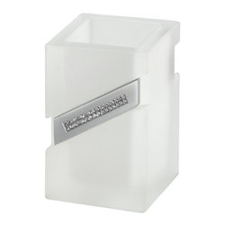Counter toothbrush holder. Frosted glass. - Your home should be as elegant as you are. This decorative toothbrush and toothpaste wall holder is equipped with genuine Swarovski crystals and stunning frosted glass. Between your decor and your teeth, it'll be hard to discern what's more dazzling.