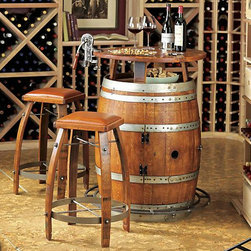 Vintage Oak Wine Barrel Bistro Table & Bar Stools - Perfect seating for a rustic wine cellar — this instantly creates style and an intimate setting.