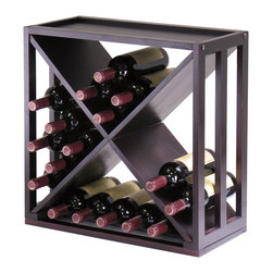 """Winsomewood - Kingston Modular """"X"""" Cube Holds 24-Bottle, Stackable - Storage is designed to stand alone or as a modular piece that is also stackable. This X design holds 24 bottles is made of sturdy wood with espresso finish"""