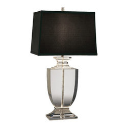 Robert Abbey - Robert Abbey Artemis Table Lamp 3324B - Rectangular Black Dupioni Silk Shade