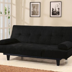 ACME Furniture - Cybil Black Microfiber Adjustable Futon Sofa Bed Sleeper - 0585 - Cybil Collection Sofa Sleeper