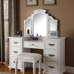 "Acme - Torian 3-Piece White Finish Wood Make Up Dressing Table Vanity - Torian 3 piece white finish wood make up dressing table vanity set with stool and tri-fold mirror. This set includes the vanity with 7 drawers with classic styling, the tri-fold mirror with curved tops and the padded stool with turned legs. Vanity measures 52"" x 18"" x 32""H. Mirror measures 36"" x 29"". Stool measures 19"" x 14"" x 20""H. Some assembly is required."