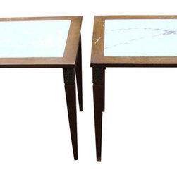 Consigned 19Th C. Louis Xvi Marble Burled Wood Tables - A pair of antique 19th century Louis XVI style Portuguese marble top burled wood sides tables. The marble can be removed and the brass ornate detail on the upper surface of the legs is an added detail.