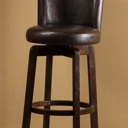 Hillsdale Furniture - Swivel Stool - Brown Vinyl (31 in. Bar Height - Choose Size: 31 in. Bar HeightSolid hardwood.360 degree swivelChoice of black or brown vinyl seat.. 18 in. W x 19 in. D x 39 in. H (18 lbs.)The Copenhagen Stool is a comfortable classic. Made of solid hardwood with an espresso finish, the Copenhagen boasts an elegantly arched back and a 360 degree swivel seat covered in your choice of a black or brown vinyl.