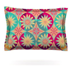 "Kess InHouse - Nika Martinez ""Happy Flowers"" Floral Abstract Pillow Sham (Woven, 30"" x 20"") - Pairing your already chic duvet cover with playful pillow shams is the perfect way to tie your bedroom together. There are endless possibilities to feed your artistic palette with these imaginative pillow shams. It will looks so elegant you won't want ruin the masterpiece you have created when you go to bed. Not only are these pillow shams nice to look at they are also made from a high quality cotton blend. They are so soft that they will elevate your sleep up to level that is beyond Cloud 9. We always print our goods with the highest quality printing process in order to maintain the integrity of the art that you are adeptly displaying. This means that you won't have to worry about your art fading or your sham loosing it's freshness."