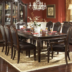 Homelegance - Homelegance Palace 7 Piece Dining Room Set in Brown Cherry - The Palace Collection exemplifies the best of Old World Europe. Egg and dart moldings, rope twists, acanthus and tobacco leaf carvings and florets accentuate each piece; the Palace Collection has it all. These many exquisite details married with a rich br - 1394-108-7-SET.  Product features: Belongs to Palace Collection; Egg and dart base moldings; Rope twists under case tops and on bed posts; Acanthus and tobacco leaf carvings; Florets and inset marble tops; Many exquisite details married with a rich brown finish on cherry veneers; Golden highligh. Product includes: Dining Table (1); Arm Chair (2); Side Chair (4). 7 Piece Dining Room Set in Brown Cherry belongs to Palace Collection by Homelegance.
