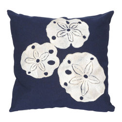 """Trans-Ocean - Sand Dollar Navy Pillow - 20"""" SQ - The highly detailed painterly effect is achieved by Liora Mannes patented Lamontage process which combines hand crafted art with cutting edge technology.These pillows are made with 100% polyester microfiber for an extra soft hand, and a 100% Polyester Insert.Liora Manne's pillows are suitable for Indoors or Outdoors, are antimicrobial, have a removable cover with a zipper closure for easy-care, and are handwashable."""