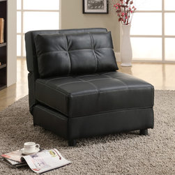 Coaster - Black Accent Lounge Chair/ Sofa Bed - Ideal for lounging or providing a bed for your guests during a sleepover,this armless chair offers both comfort and versatility. Upholstered in decoratively stitched faux leather,this black chair adds sleek style to any decor.