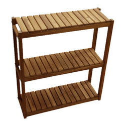 "TEAKWORKS4U - Teakworks4u Three Teired Shelf, 24""L x 8""D x 26""H, Plantation Teak, Each - Teakworks4u Three Teired Shelf unit can be used in a variety of settings around the home including the bath and garden. The sleek, modern design will fit into almost any decor. It has anti-microbial rubber bonded to the bottom."