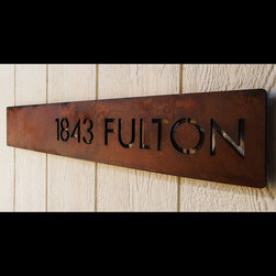 Address Plaques - Custom Modern Floating Deluxe Address Horizontal Offset in Rusted Steel