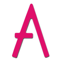 """Hot Pink Contemporary House Letters - These 5"""" Hot Pink Powder Coat letters will add a splash of color and give your home a contemporary curb appeal. Letters are made of stainless steel."""