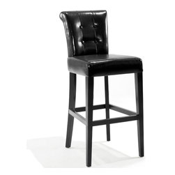 Armen Living - Sangria 30in. Tufted Black Leather Pub High Barstool - Great looking sway back tufted leather 30 inches pub high stationary barstool. Very easy to clean.